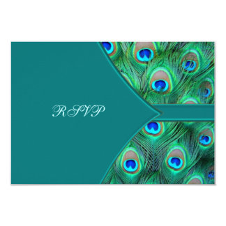 Teal Peacock Elegant Peacock Wedding RSVP Personalized Announcements