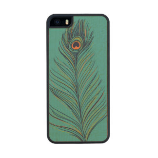 Teal Peacock Feather Carved® Maple iPhone 5 Slim Case