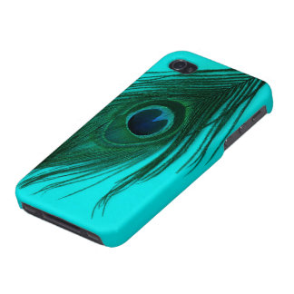 Teal Peacock Feather Case For The iPhone 4