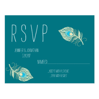 Teal peacock feather RSVP cards