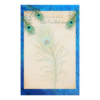 Teal Peacock Feathers Stationery
