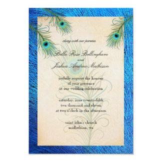 Teal Peacock Feathers Wedding Invitation