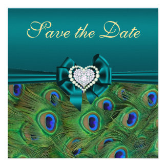 Teal Peacock Save the Date Custom Invite