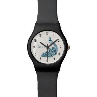 Teal Peacock Stylish Art Deco Design Personalized Watch