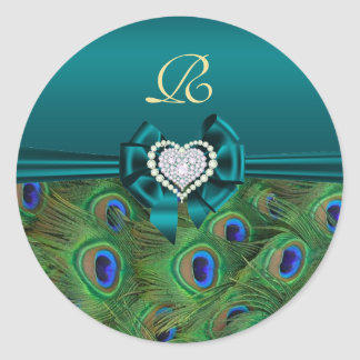 Teal Peacock Wedding Gift Seal Round Sticker