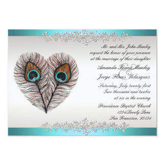 Teal Peacock Wedding Invitation