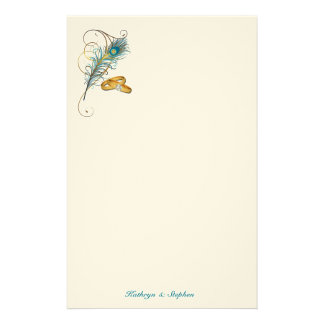 Teal Peacock Wedding with Gold Wedding Bands Stationery