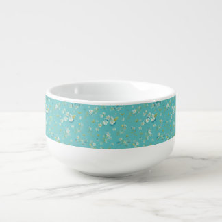 teal,peacock,white cherry,blossom,pattern,trendy, soup mug