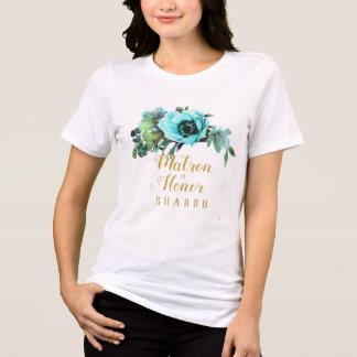 Teal Peony Swag Matron of Honor Name ID456 T-Shirt