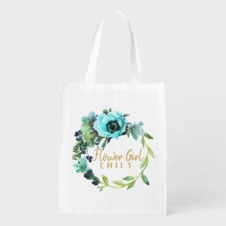 Teal Peony Wreath Flower Girl Name ID456 Reusable Grocery Bag