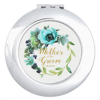 Teal Peony Wreath Mother of the Groom ID456 Travel Mirror