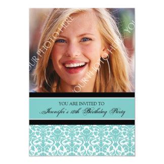 "Teal Photo 18th Birthday Party Invitations 5"" X 7"" Invitation Card"