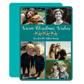 Teal Photo Collage Starfish Christmas Flat Cards