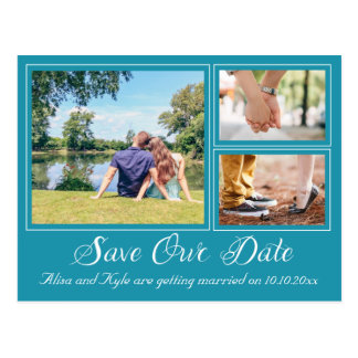 Teal Photo Save the Date Postcard Script Font