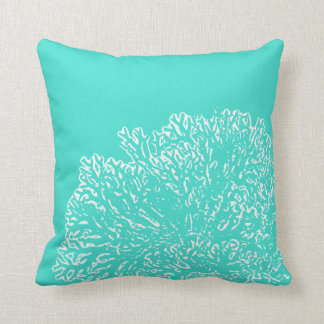 Teal Pillow with White Coral Pattern