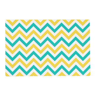 Teal, Pineapple, Wht Large Chevron ZigZag Pattern Laminated Placemat