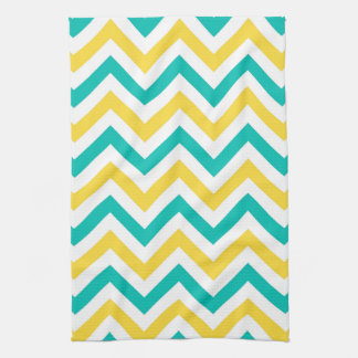 Teal, Pineapple, Wht Large Chevron ZigZag Pattern Tea Towel