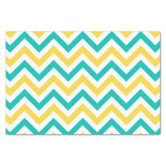 Teal, Pineapple, Wht Large Chevron ZigZag Pattern Tissue Paper