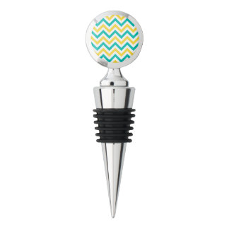 Teal, Pineapple, Wht Large Chevron ZigZag Pattern Wine Stopper