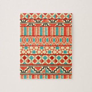 Teal Pink Abstract Geo Aztec Tribal Print Pattern Jigsaw Puzzle