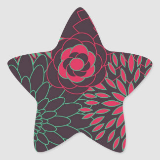 Teal Pink and Brown Modern Flowers Star Sticker