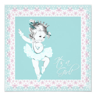 Teal Pink Ballerina Girl Baby Shower 13 Cm X 13 Cm Square Invitation Card