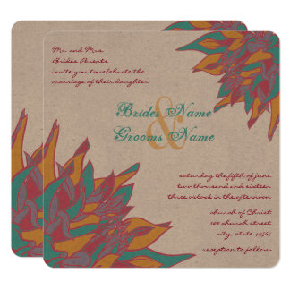 Teal Pink Beeswax Yellow Coral Floral Invites
