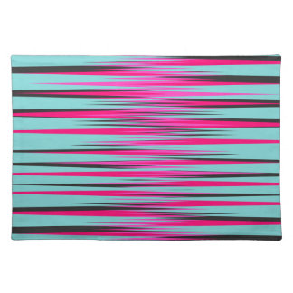 Teal, PInk, & Black Stripes Placemats