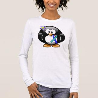 Teal/Pink/Blue Ribbon Penguin Long Sleeve T-Shirt