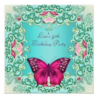 """Teal Pink Butterfly Womans 30th Birthday 5.25"""" Square Invitation Card"""