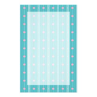 Teal Pink Diamond Stripe Pattern Stationery Design