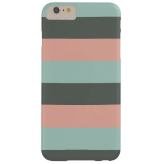 Teal Pink Gray Stripes Pattern Barely There iPhone 6 Plus Case