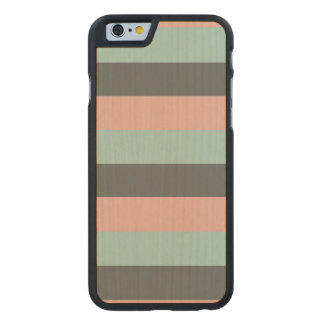 Teal Pink Gray Stripes Pattern Carved® Maple iPhone 6 Slim Case