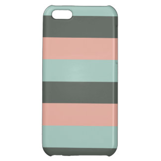 Teal Pink Gray Stripes Pattern Case For iPhone 5C