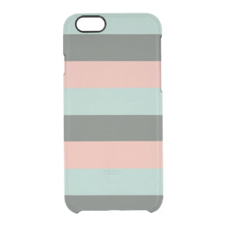 Teal Pink Gray Stripes Pattern Clear iPhone 6/6S Case
