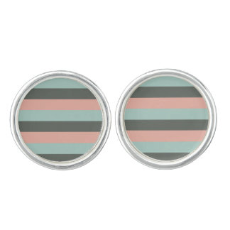 Teal Pink Gray Stripes Pattern Cufflinks