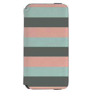 Teal Pink Gray Stripes Pattern Incipio Watson™ iPhone 6 Wallet Case