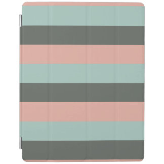 Teal Pink Gray Stripes Pattern iPad Cover