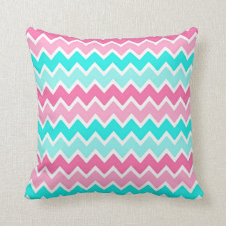 Teal Pink Ombre Chevron Decorative Pillow
