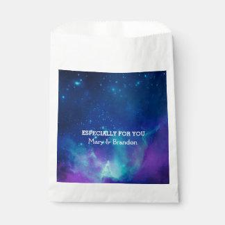 Teal Pink Universe Nebula Wedding Favour Bags