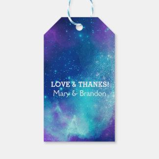 Teal & Pink Universe Nebula Wedding Gift Tags