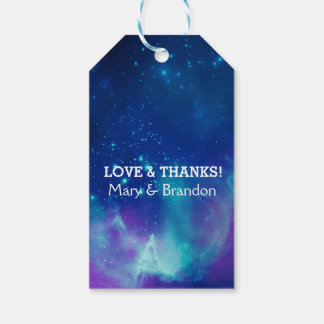 Teal Pink Universe Nebula Wedding Gift Tags