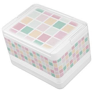 Teal Pink Yellow White Modern Square Pattern Cooler