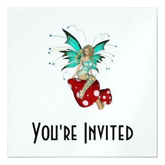 Teal Pixie & Mushrooms 3D 13 Cm X 13 Cm Square Invitation Card
