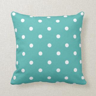 Teal Polka Dot Home Decor Throw Pillow