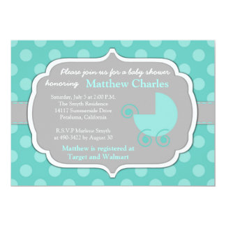 Teal Polka Dots Baby Shower Invitation