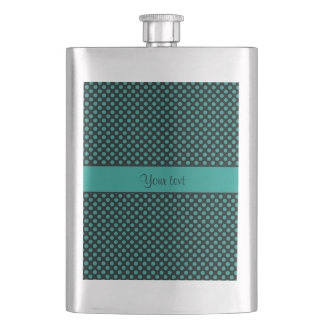 Teal Polka Dots Hip Flask