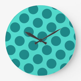 Teal Polka Dots Large Clock