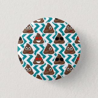 Teal Poop Emoji Pattern 3 Cm Round Badge