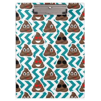 Teal Poop Emoji Pattern Clipboard